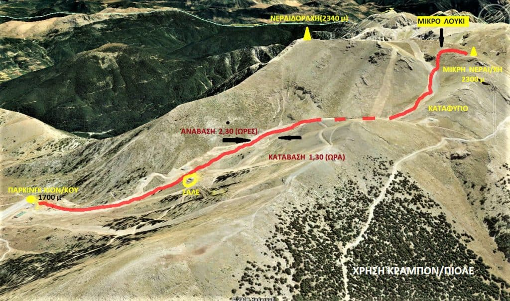 Ανάβαση στη Νεραϊδόραχη Χελμού - Σχέδιο πορείας
