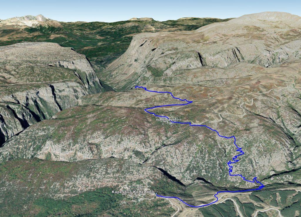 Σχέδιο της διαδρομής Καπέσοβο - Μπελόη